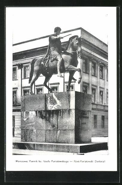 AK Warschau-Warszawa, Pomnik ks. lozefa Poniatowskiego
