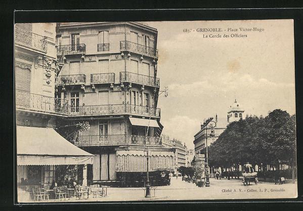 AK Grenoble, Place Victor-Hugo, le Cercle des Officiers