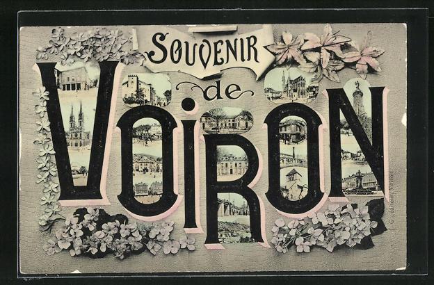 AK Voiron, Stadtansichten im Schriftzug mit Blumenschmuck