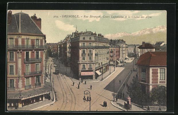 AK Grenoble, Rue Béranger, Cours Lafontaine et la Chaine des Alpes