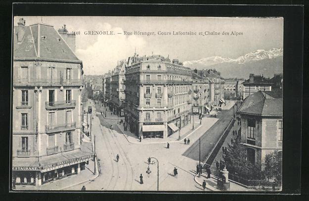 AK Grenoble, Rue Béranger, Cours Lafontaine et la Chaine des Alpes, Strassengabelung