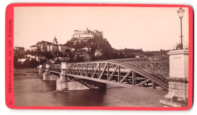 Fotografie Würthle & Spinnhirn, Salzburg, Ansicht Salzburg, Partie an der Karolinenbrücke