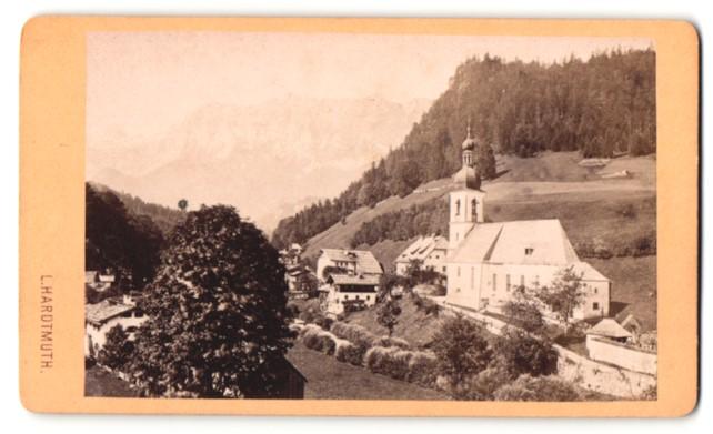 Fotografie L. Hardtmuth, Salzburg, Ansicht Ramsau, Kirche und Gasthaus