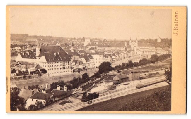 Fotografie J. Reiner, Klagenfurt, Ansicht Steyr, Stadtansicht mit Dampflok & Güterbahnhof