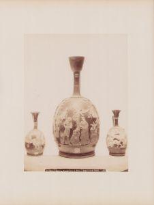 Fotografie Robert Rive, Ansicht Neapel - Napoli, Museo Napoli, Vaso di Ruvo, Il supplizio di Marsia, 25 x 19cm