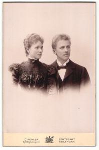 Fotografie C. Kohler, Stuttgart & Heilbronn, Portrait junges gutbürgerliches Paar in Abendgarderobe