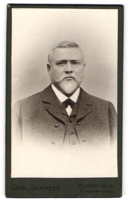 Fotografie Carl Schäfer, Elberfeld, Portrait älterer Herr mit Bart u. Fliege im Anzug