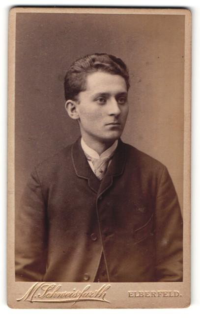 Fotografie Moritz Schweisfurth, Elberfeld, Portrait junger Herr mit Krawatte in zeitgenössischer Kleidung