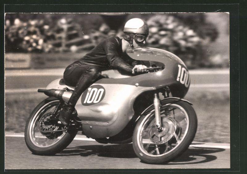 Fotografie Motorrad MZ-Re, Rennmotorrad mit Startnummer 100 im Rennen