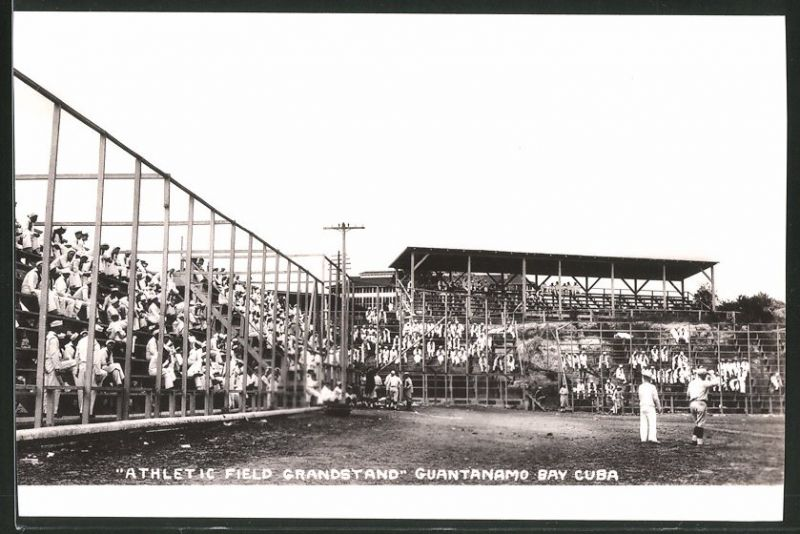 Fotografie Fotograf unbekannt, Ansicht Guantanamo Bay / Cuba, Athletic Field Grandstand, Baseball - Spiel