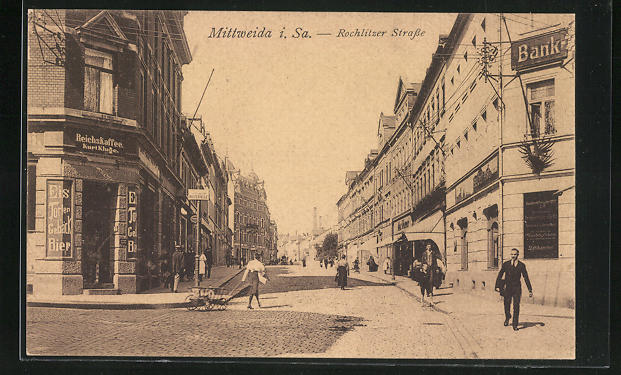 AK Mittweida, Rochlitzer Strasse mit Reichs-Cafe Kurt Kluge
