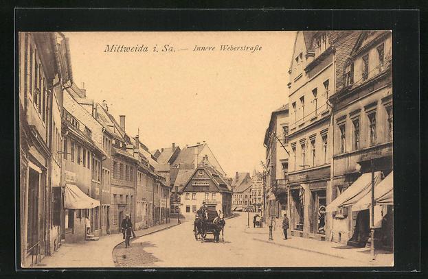 AK Mittweida, Innere Weberstrasse mit Geschäften