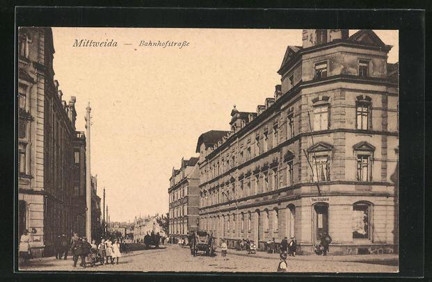 AK Mittweida, Blick in die Bahnhofstrasse