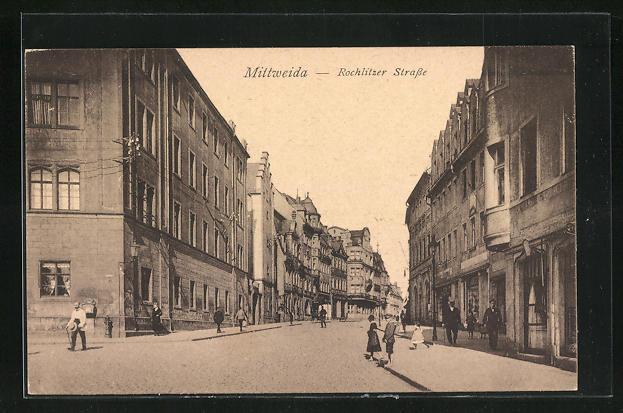 AK Mittweida, Blick in die Rochlitzer Strasse