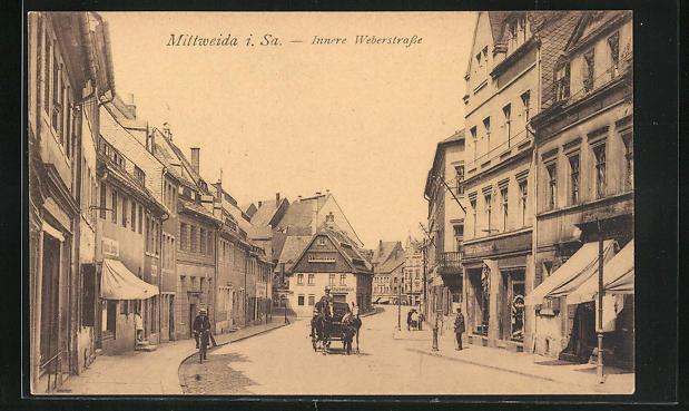 AK Mittweida, Blick in die Innere Weberstrasse