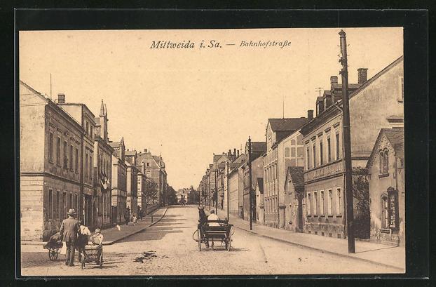 AK Mittweida, Fuhrwerk auf der Bahnhofstrasse