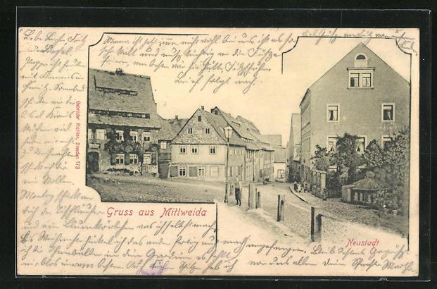 AK Mittweida, Strassenpartie in der Neustadt