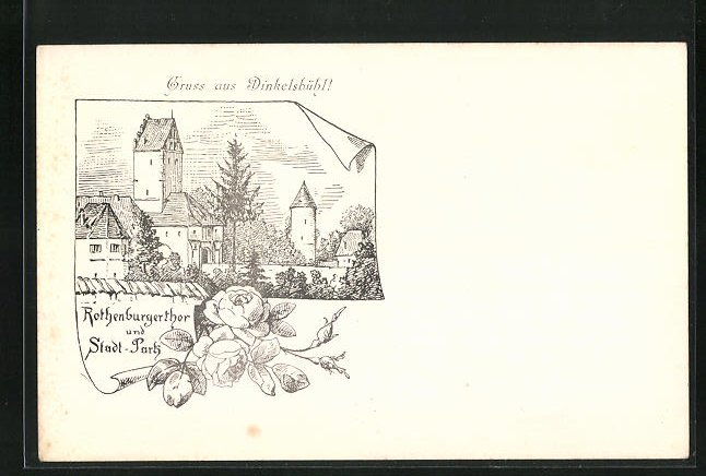 Lithographie Dinkelsbühl, Rothenburgerthor und Stadt-Park, früher Druck