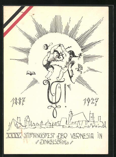 AK Dinkelsbühl, XXXX. (XL.) Stiftungsfest der Vernesia 1927, Tanzende Engelchen