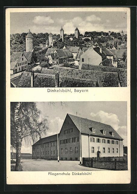 AK Dinkelsbühl, Blick auf die Fliegerschule, Teilansicht der Stadt