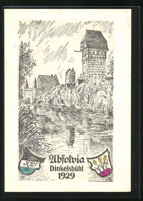 Künstler-AK Dinkelsbühl, Absolvia 1929, an der Stadtmauer