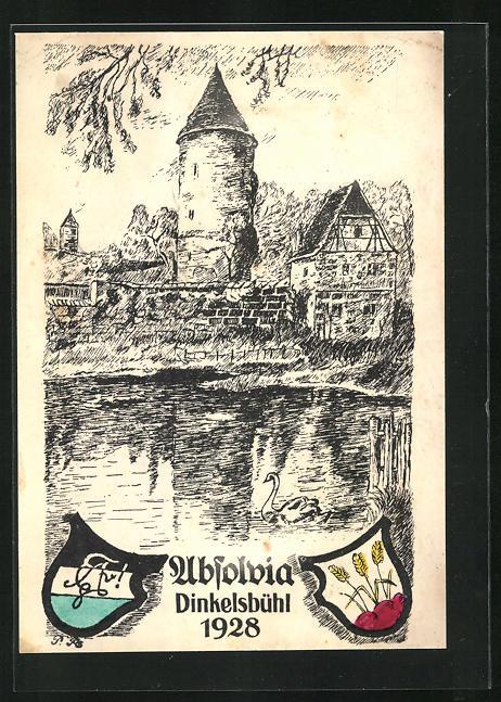 Künstler-AK Dinkelsbühl, Absolvia 1928, Turm und alte Stadtmauer