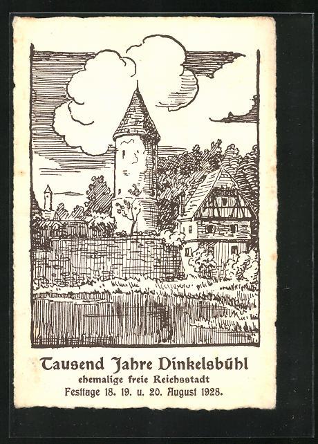 Künstler-AK Dinkelsbühl, Festkarte Tausend Jahre Dinkelsbühl 1928, an der historischen Stadtmauer