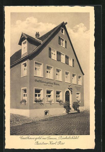 AK Dinkelsbühl, Gasthaus gold`nes Lamm, Lange Gasse 26 /28