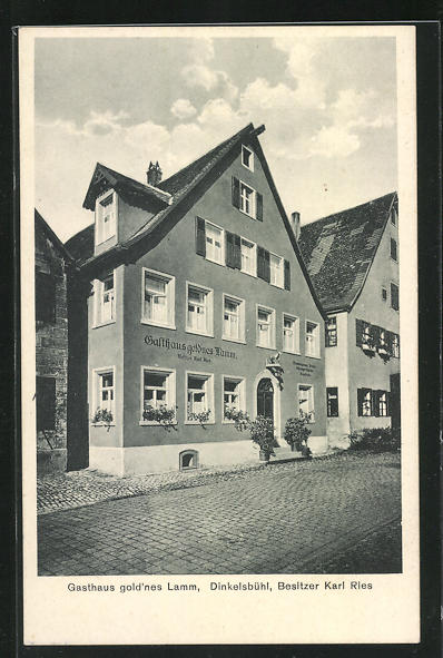 AK Dinkelsbühl, Gasthaus gold`nes Lamm, Lange Gasse 26-28