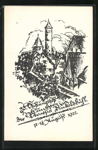 Künstler-AK Dinkelsbühl, 35. Stiftungsfest der Vernesia 1922, an der alten Stadtmauer