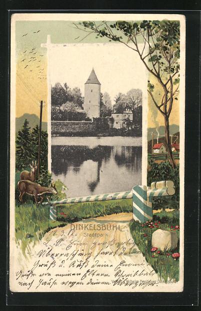 Passepartout-Lithographie Dinkelsbühl, Ansicht vom Stadtpark, Rehe an einer Schranke