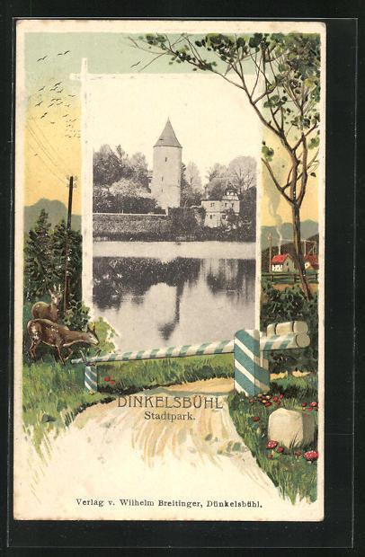 Passepartout-Lithographie Dinkelsbühl, Blick zum Stadtpark, Rehe an einer Schranke