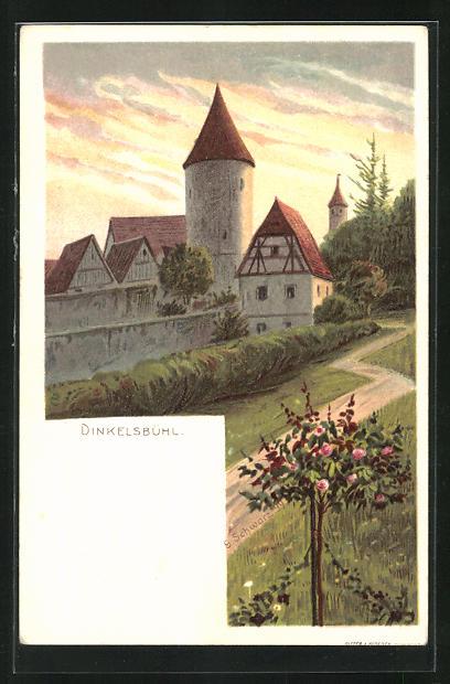 Lithographie PP15F6 /010: Dinkelsbühl, Teilansicht bei Abendstimmung