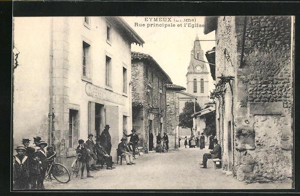 AK Eymeux, Rue principale et l`Eglise, Strassenpartie
