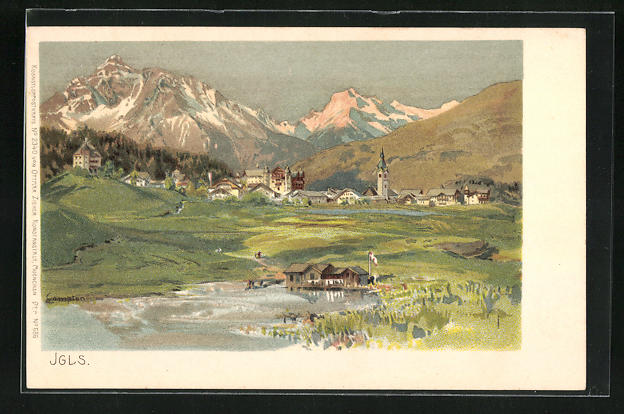 Künstler-Lithographie Edward Theodore Compton: Igls, Panorama