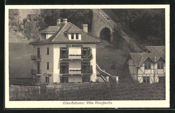 AK Gries-Bolzano, Villa Margherita neben der Gincinà Bergbahn