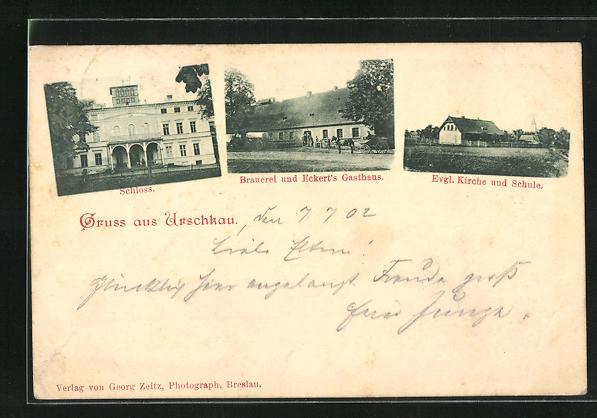 AK Urschkau, Brauerei und Eckert`s Gasthaus, Ev. Kirche und Schule, Schloss