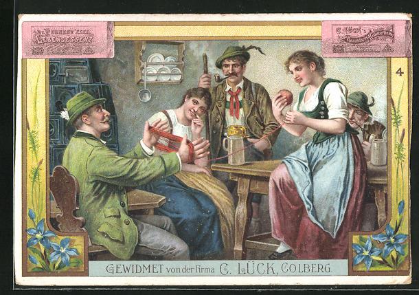 Lithographie Colberg, gewidmet von der Firma C. Lück, Gesundheits Kräuterhonig, junge Menschen in Gastwirtschaft