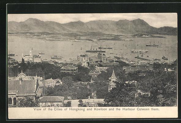 AK Hongkong, Partie mit Kowloon und dem Hafen zwischen den Städten