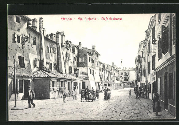 AK Grado, Via Stefania, Blick in die Strasse