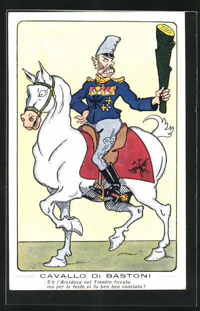 Künstler-AK Cavallo di Bastoni, Karikatur vom Erzherzog des Trentin