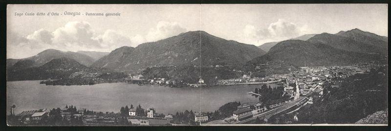 Klapp-AK Omegna, Panoramablick auf Ort und See