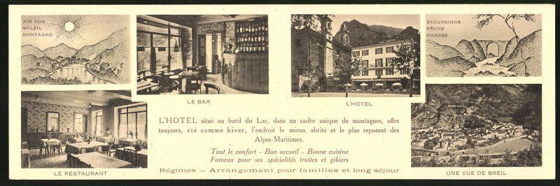 Klapp-AK Breil-sur-Roya, Roya-Hotel-Restaurant au Bord du Lac, Ortsansicht