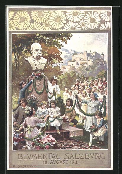 Künstler-AK Kulstrunk: Salzburg, Blumentag 1911