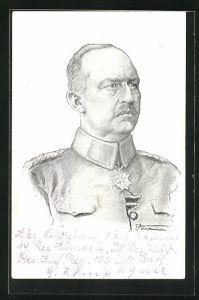 Künstler-AK Erich Ludendorff, Portrait des Heerführers