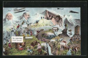 AK Die Jungfrau in der Zukunft, Berg mit Gesicht / Berggesichter