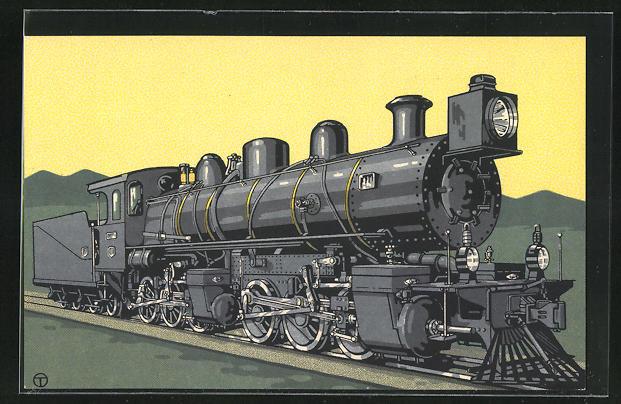 Künstler-AK sign. Teuteberg: HANOMAG, C+C-Güterzuglok der Arica-La Paz-Bahn Chile
