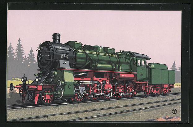 Künstler-AK sign. Teuteberg: HANOMAG, 1 E-Dreizylinder-Güterzuglok, Gattung G 12 der Preuss. Staatsbahn