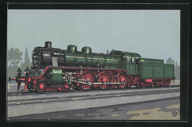 Künstler-AK sign. Teuteberg: HANOMAG, 12 C-Dreizylinder-Schnellzuglok der Preuss. Staatsbahn