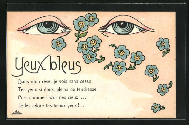 AK Yeux Bleus, Blaue Augen und Vergissmeinnicht